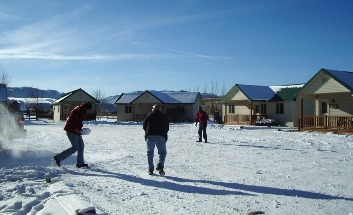 Cabin Snowball Fight